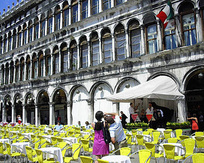 Photograph - Yellow Chairs In Piazza San Marco by Jodie Marie Anne Richardson Traugott          aka jm-ART