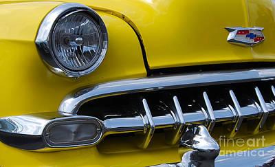 Photograph - Yellow Chevy Closeup by Mark Spearman