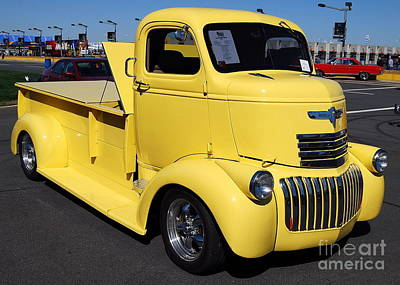 Vintage Truck Photograph - Yellow Chevy Truck by Mark Spearman