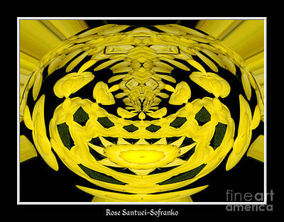 Photograph - Yellow Chrysanthemums Polar Coordinates Effect by Rose Santuci-Sofranko
