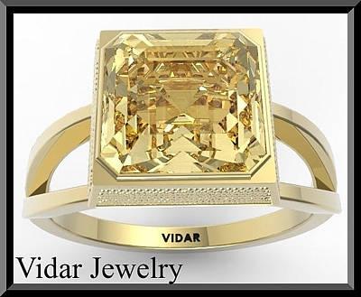 14k Jewelry - Yellow Citrine 14k Yellow Gold Square Engagement Ring by Roi Avidar