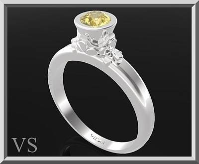 Gemstone Engagement Ring Jewelry - Yellow Citrine Sterling Silver Engagement Ring by Roi Avidar