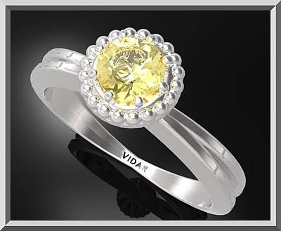 Custom Engagement Ring Jewelry - Yellow Citrine Sterling Silver Engagement Ring With Little Silver Balls by Roi Avidar