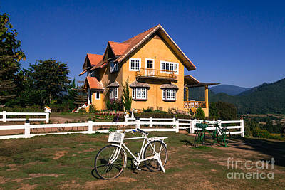 Art Print featuring the photograph Yellow Classic House On Hill by Tosporn Preede