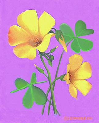 Painting - Yellow Clover Flowers by Sophia Schmierer