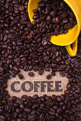 Pour Photograph - Yellow Coffee Cup With Coffee Beans by Garry Gay