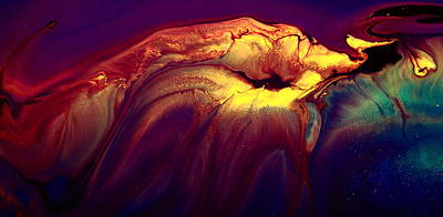 Painting - Yellow Colorful Horizontal Abstract Art Burning Jellyfish By Kredart by Serg Wiaderny