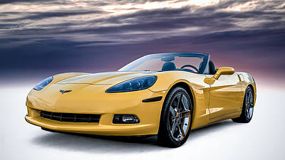 Chevy Digital Art - Yellow Corvette Convertible by Douglas Pittman