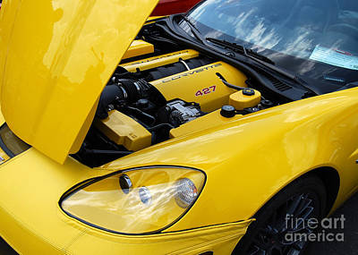 Photograph - Yellow Corvette Engine by Mark Spearman