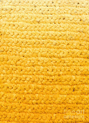 Textile Tapestry - Textile - Yellow Crochet Rag Rug by Kerstin Ivarsson
