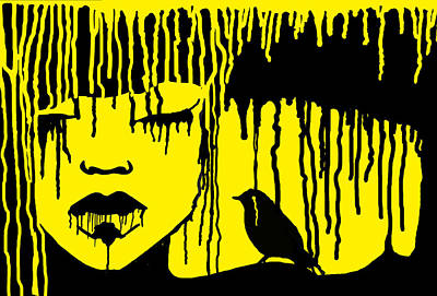 Crying Drawing - Yellow Cry by Maria Buzueva