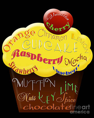 Raspberry Digital Art - Yellow Cupcake Typography by Andee Design