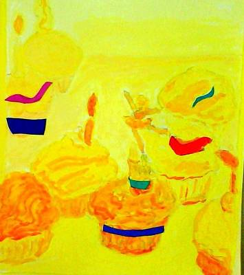 Yellow Cupcakes Art Print by Suzanne Berthier