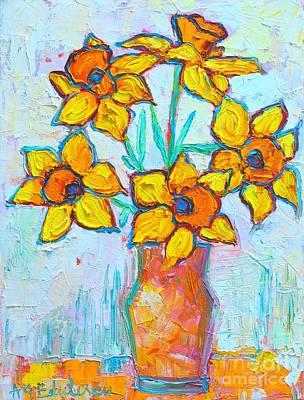 Daffodils Painting - Yellow Daffodils   by Ana Maria Edulescu