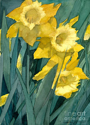 Painting - Watercolor Painting Of Blooming Yellow Daffodils by Greta Corens