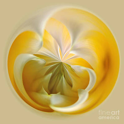 Photograph - Yellow Dahlia Orb by Kaye Menner