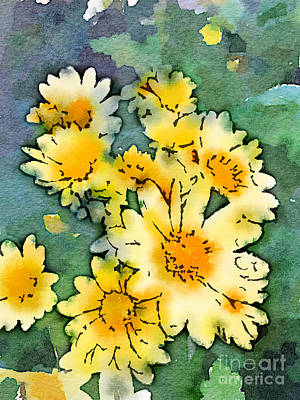 Digital Art - Yellow Daisies Digital Watercolor by Beverly Claire Kaiya