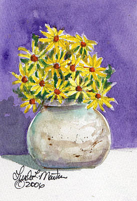 Painting - Yellow Daisies In Stoneware Vase by Linda L Martin