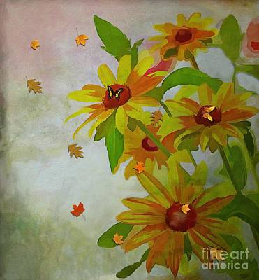 Mixed Media - Yellow Daisy Flowers  by Liane Wright
