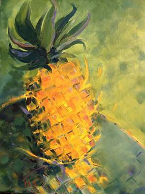 Painting - Yellow Dancing On Green by Karen Carmean