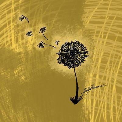 Dandelion Digital Art - Yellow Dandelion by Kelly Brown