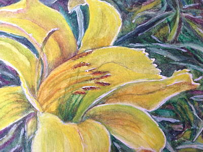 Painting - Yellow Daylily by Carol Warner