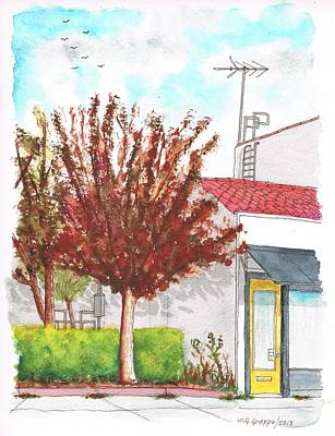 Santa Monica Painting - Yellow Door Near Santa Monica Blvd In West Hollywood - California by Carlos G Groppa