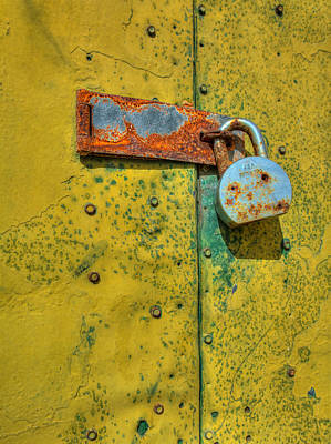 Photograph - Yellow Door With Lock by James Hammond