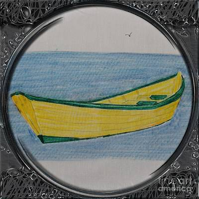 Yellow Dory Porthole Vignette Art Print by Barbara Griffin