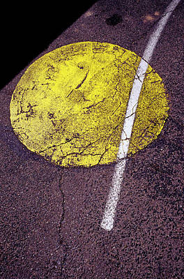 Asphalt Photograph - Yellow Dot On Asphalt by Panoramic Images