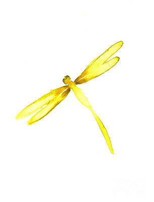 Yellow Painting - Yellow Dragonfly by Mariusz Szmerdt