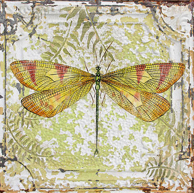 Yellow Dragonfly On Vintage Tin Art Print