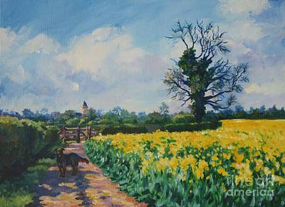 Cherry Tree Painting - Yellow Field And Rex by John Clark