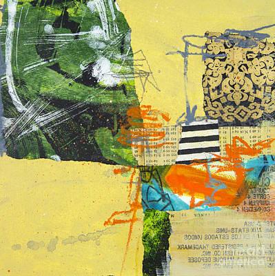Line Work Mixed Media - Yellow Field by Elena Nosyreva
