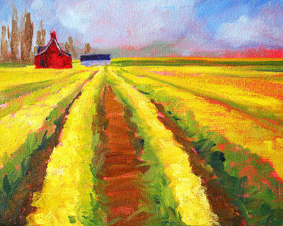 Yellow Field Landscape Original by Nancy Merkle