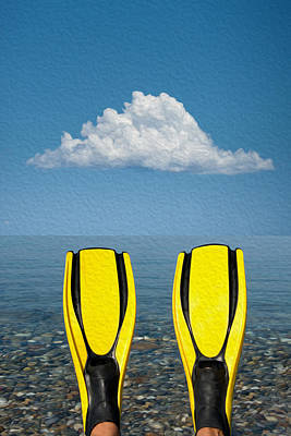 Foot Wear Digital Art - Yellow Fins by Roy Pedersen