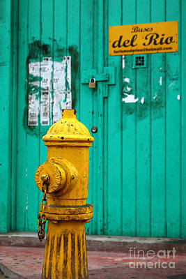 Old Fashioned Water Pump Photograph - Yellow Fire Hydrant by James Brunker