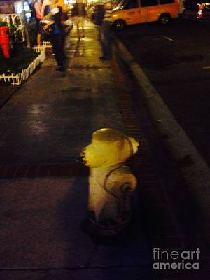 Photograph - Yellow Fire Hydrant Out For A Walk Around Town  by Richard W Linford