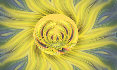 Yellow Floral Abstract Art Print by Linda Phelps