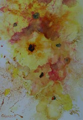 Wet-on-wet-technique Painting - Yellow Floral I by Claudia Hanson