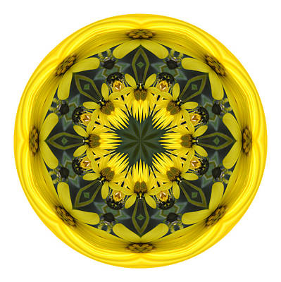 Photograph - Yellow Flower Sphere Mandala by Beth Sawickie