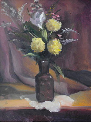 Art Print featuring the painting Yellow Flowers by Alla Parsons