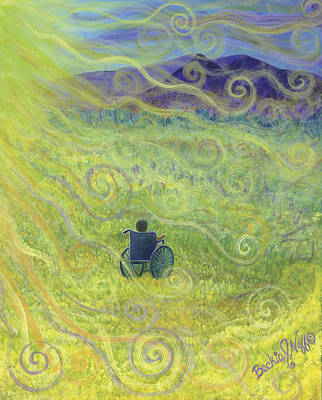 Sun Rays Painting - Yellow Flowers by Beckie J Neff
