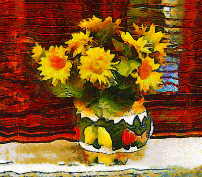 Yellow Flowers In A Porcelain Vase Art Print by Bishopston Fine Art