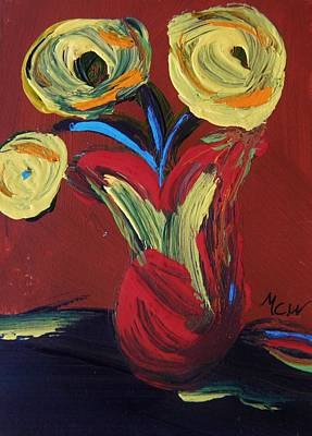 Visionary Art Drawing - Yellow Flowers In Artisan Vase by Mary Carol Williams