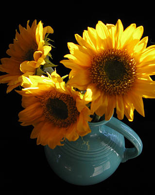 Fiestaware Photograph - Yellow Flowers In Fiesta Pitcher by Patricia Januszkiewicz