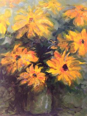Painting - Yellow Flowers by Karen Carmean