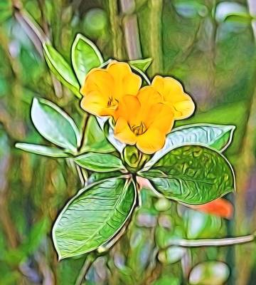Mixed Media - Yellow Flowers by Pamela Walton
