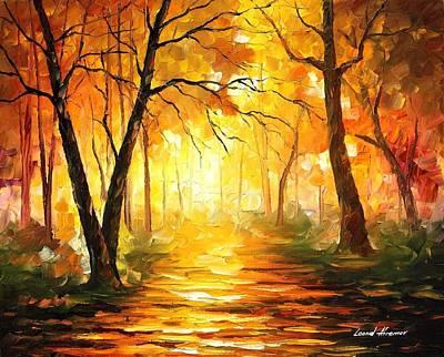 Park Scene Painting - Yellow Fog 3 by Leonid Afremov
