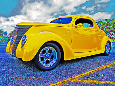 Roadster Photograph - Yellow Ford Coupe Street Rod Art by Chas Sinklier
